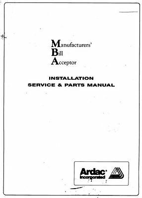Ardac MBA Installation Service Parts Manual (51 Pages)