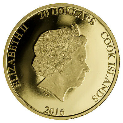 2016 Cook Islands $20 1/10 Oz .9999 Fine Proof Gold Brexit Coin SKU41689