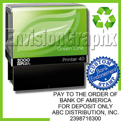 Custom BANK ENDORSEMENT Self Inking Rubber Stamp Recycled Green Line P40