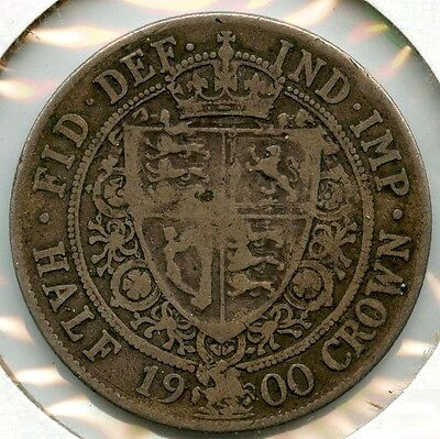 Great Britain 1900 Silver Coin - Half Crown - Queen Victoria - AF816