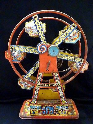"Chein Tin Litho Wind-Up Metal Toy Ferris Wheel ""hercules"" Vintage Rare Antique"