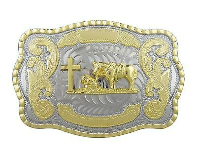 Praying Cowboy Western Large Rodeo Cowboy Two Tone Gold Color Belt Buckle