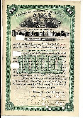 New York Central and Hudson River Railroad Company 1892 $1000 Debt Certificate