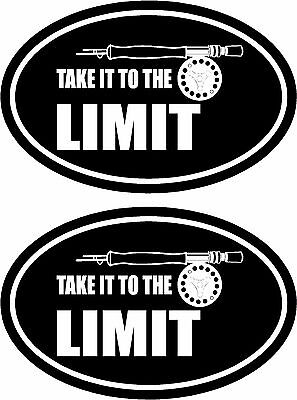 2pcs - Take it to the limit - funny fishing stickers - musky bass trout - FS353