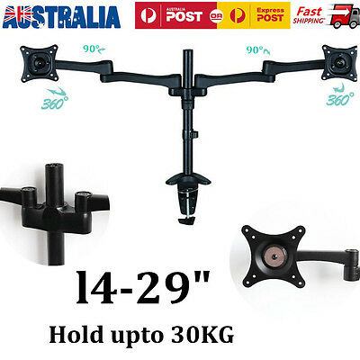 Dual Arm HCD LED Monitor Stand Table Top VESA Mount Bracket Hold 2 LCD Screen OZ