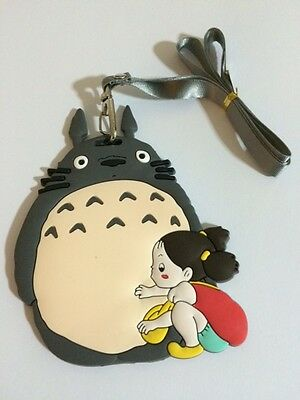 TOTORO Rubber Card ID Travel School Office Name Tag + Lanyard