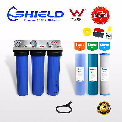 Whole House  Water Filter System 20''x4.5'' Triple Big Blue (3 stages) + Gauge