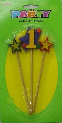 Candle Set 1st 3PK Party Supplies Birthday Decoration