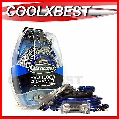 NEW 4 GAUGE AWG 4CH 1000W AMPLIFIER WIRING KIT CAR AMP 2x RCA SPEAKER CABLE