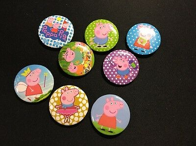 5pcs PEPPA PIG 30mm Plastic Badge Brooch Pin Birthday Party Lolly Bag Gift