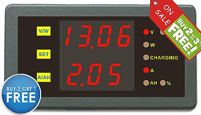 DC 0-120V 0-100A Volt Amp Ah Power Capacity Percent Battery Monitor Watt Meter