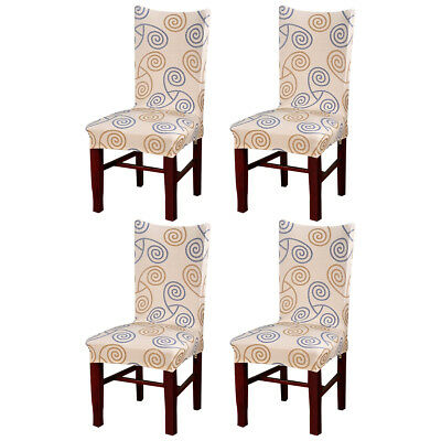 4pcs Washable Removable Elastic Stretch Slipcovers Dining Room Seat Chair Cover