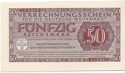 Nazi Germany military payment certificate 50 Reichsmarks in UNC condition, WWII