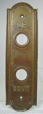 Antique Elevator Panel Up Down Bronze Brass bevel edge deco ornate orig embossed