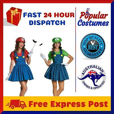 Womens Super Mario Luigi Brothers Plumber Fancy Dress Nintendo Game Costume