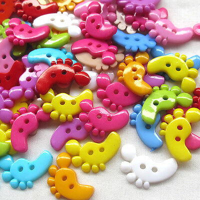 New 100pcs Mix Foot Plastic Buttons 22mm Sewing Craft 2 Holes Lots