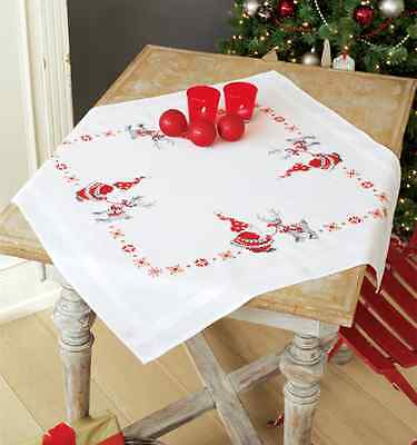 Christmas elves & reindeer Tablecloth kit  printed embroidery cross stitch kit