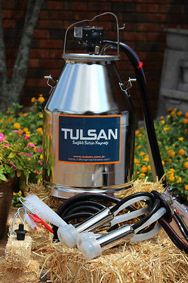 Portable dairy cow milker milking bucket tank 304 stainless steal  by Tulsan. CE