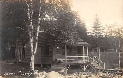 Maine From Carry porch Log Cabin Real Photo Antique Postcard K10190
