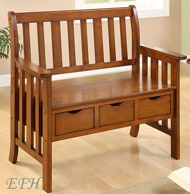 NEW NEWCREST MISSION STYLE OAK FINISH WOOD ACCENT BENCH w/ STORAGE DRAWERS
