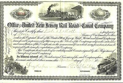 Office of United New Jersey Rail Road & Canal Company Stock Certificate, 1880's