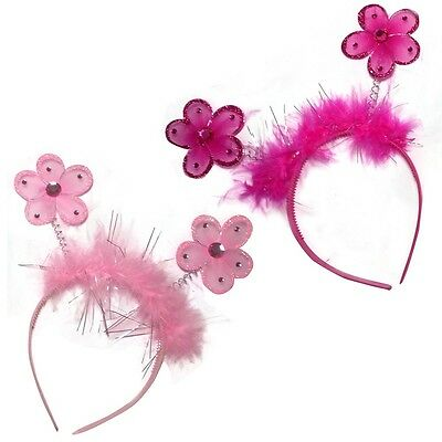 Girls Flower Deeley Bopper Headband Sparkly Fur Detail Aliceband Head Band Alice