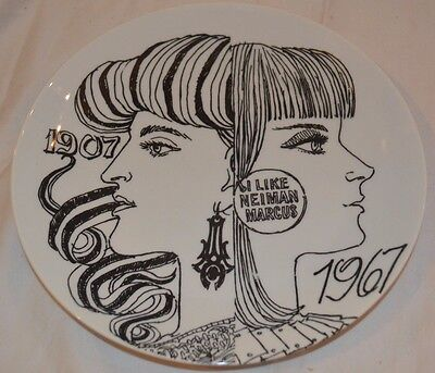 Vintage Exquisite Fornasetti I Like Neiman Marcus Wall Plate 1907 & 1967