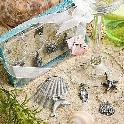Unique Beach Design Wine Charms Favor Wedding Bridal Shower Gift Reception Party