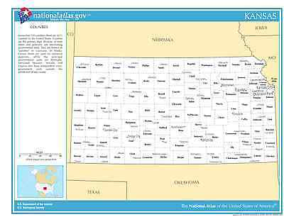 Kansas State Counties W Cities Laminated Wall Map 95 00 Picclick