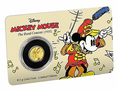 MICKEY MOUSE THROUGH THE AGES - THE BAND CONCERT - 2016 0.5 gram Pure Gold Coin