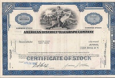 3 different . Stock certificate American District Telegraph Company. New Jersey