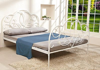 Classic Queen Size Metal Bed Frame - White