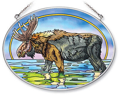 "MOOSE in Stream Sun Catcher Hand Painted Glass AMIA 7x5"" Oval Wildlife New"