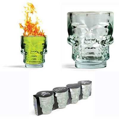 Pirate Skull Shots Shot Glasses Set 4 Glass Perfect for Party or Halloween Gift