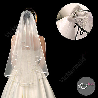 Long Cascading Fingertip Wedding Veils 2 Tier+Comb Bridal Tulle White Ivory 1.5m
