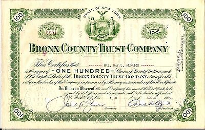 2 different. Bronx County Trust Company (JP MORGAN), stock certificate 1930's NY