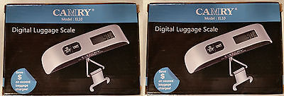 2-Camry Portable Digital Luggage Pocket Scale Silver 110 LBS TRAVEL (2 pack)