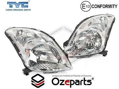 Set / Pair LH+RH Head Light Lamp Chrome For Suzuki Swift Hatch EZC21 2005~2010