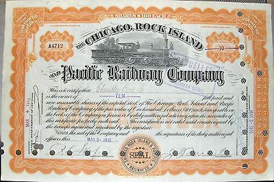 Chicago Rock Island & Pacific Railway Stock Certificate 1910's Iowa