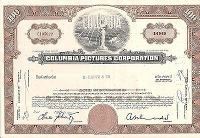Stock certificate Columbia Pictures Corporation 1960's.  New York. 100 shares