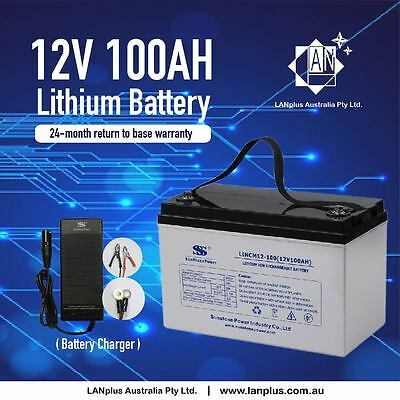 Lithium Battery 12V 100AH w/ Charger Solar Scooter Mobility Golf Cart Buggy Camp