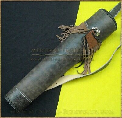 Fringed Back Quiver Leather Back Strap Archery Arrows Reenactment