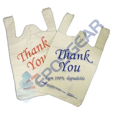 White Blue Red Large Thank You 100% Degradable Eco Plastic Vest Carrier Bags
