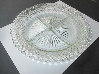 Miss America Depression Glass English Hobnail 4 Part Pickle Relish Veggie Dish