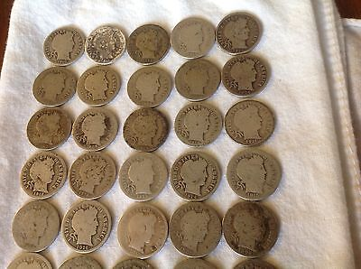 Roll of (50 coins) Mixed Date Barber Dimes (1892-1916) - 90% Silver Coins