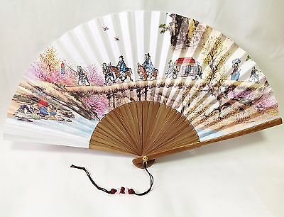 """Korean Art Hand Fan MARRIAGE Traditional Collapsible 53cm 11.6"""" x 20.8"""""""