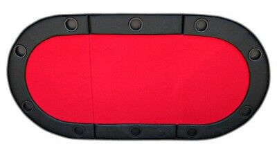 JP Commerce Padded Texas Hold'em Folding Poker Table Top with Cup Holders in Red