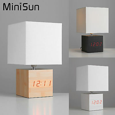 Modern Square Bedside Table Lamp + LCD Alarm Clock Wooden Light Home Lighting