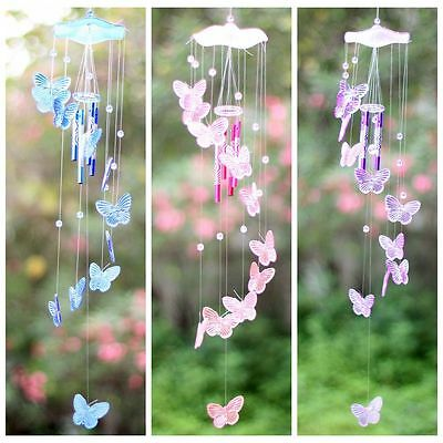 Crystal Butterfly Mobile Wind Chime Bell Ornament Lucky Yard Hanging Decor