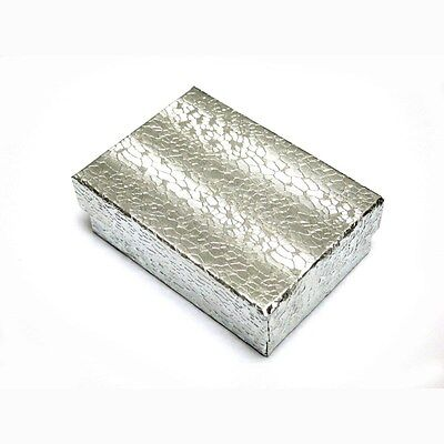 """100 Silver Cotton Filled Jewelry Gift Boxes 3 1/4"""" X 2 1/4"""" X 1"""""""